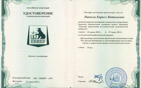 Удостоверение - Общее по проф. рискам (Никкель К.В.)